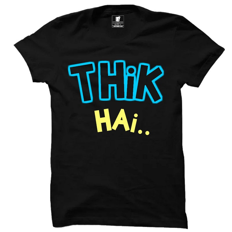 Thik Hai Premium Black Half Sleeves T-Shirt
