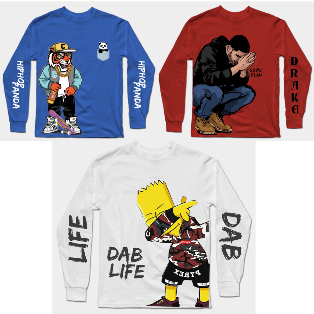 Combo Of 3 T-Shirts : Hip Hop Panda Blue, God's Plan Red & White Dab Simpson