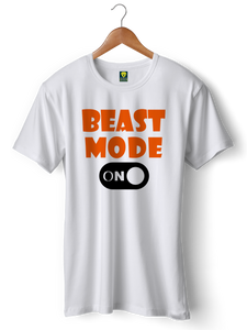 Beast Mode Gym White Half Sleeve T-Shirt - Badtamees