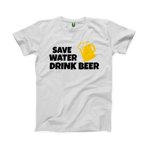 Drink Beer Funny White Half Sleeve T-Shirt - Badtamees