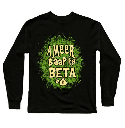 Ameer Baap Ka Beta Premium Black Full Sleeves T-Shirts