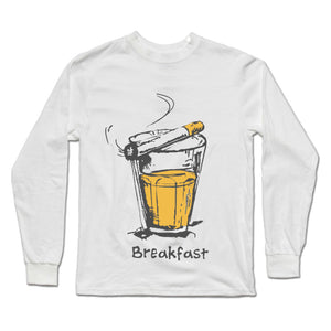 Breakfast Premium Full Sleeves White T-Shirts