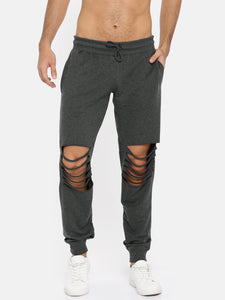 Men Charcoal Grey Ripped Joggers PRICE : Rs.599 | Book For Rs.31 Only