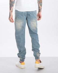Chalk Blue Ripped Denim Joggers | Tech Stretch