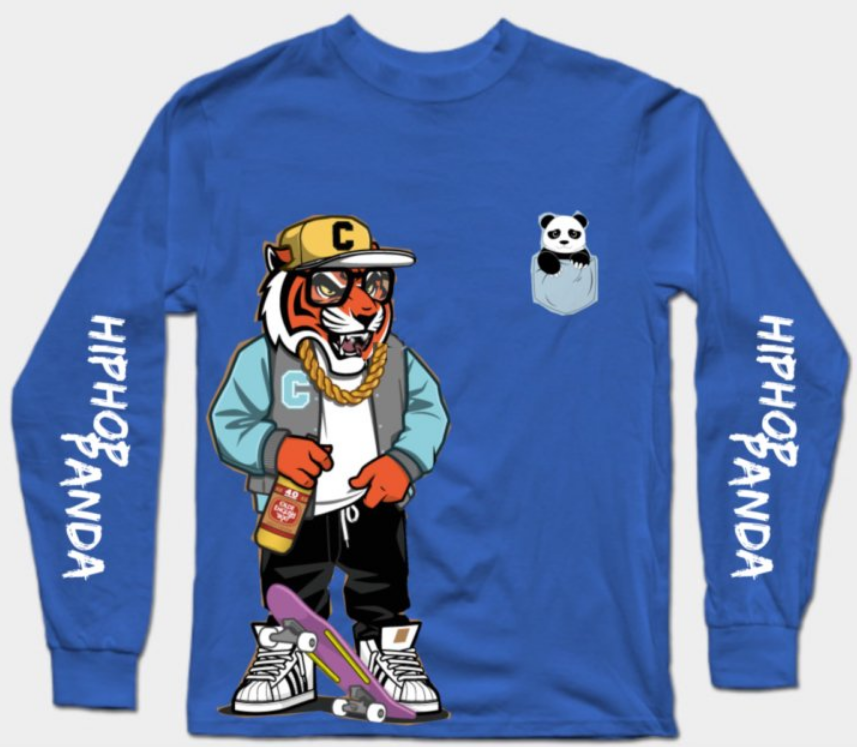 Hip Hop Panda Royal Blue T-Shirt