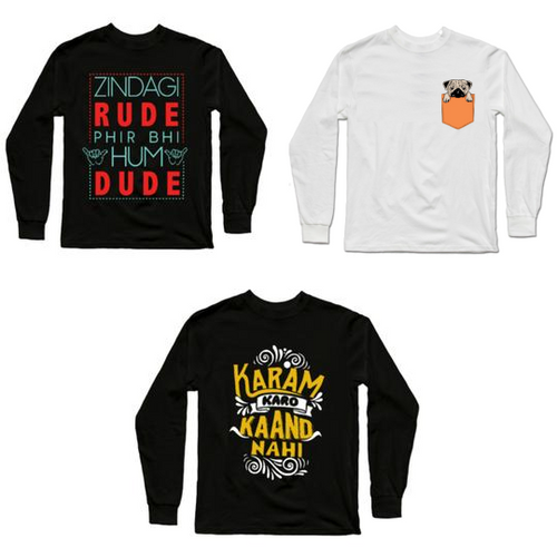 Full Sleeves T-Shirts Combo : Zindagi Rude Hai (FULL) Black, Pug White, Karam Karo (FULL) Black