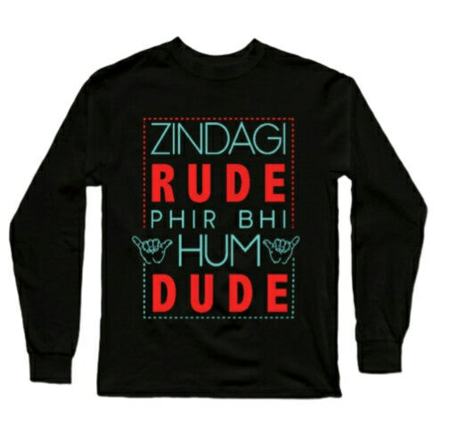 Zindagi rude hai Full Sleeves Black T-Shirts