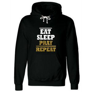 Eat Sleep Pray Repeat Black Gold Islamic Hoodie - Badtamees