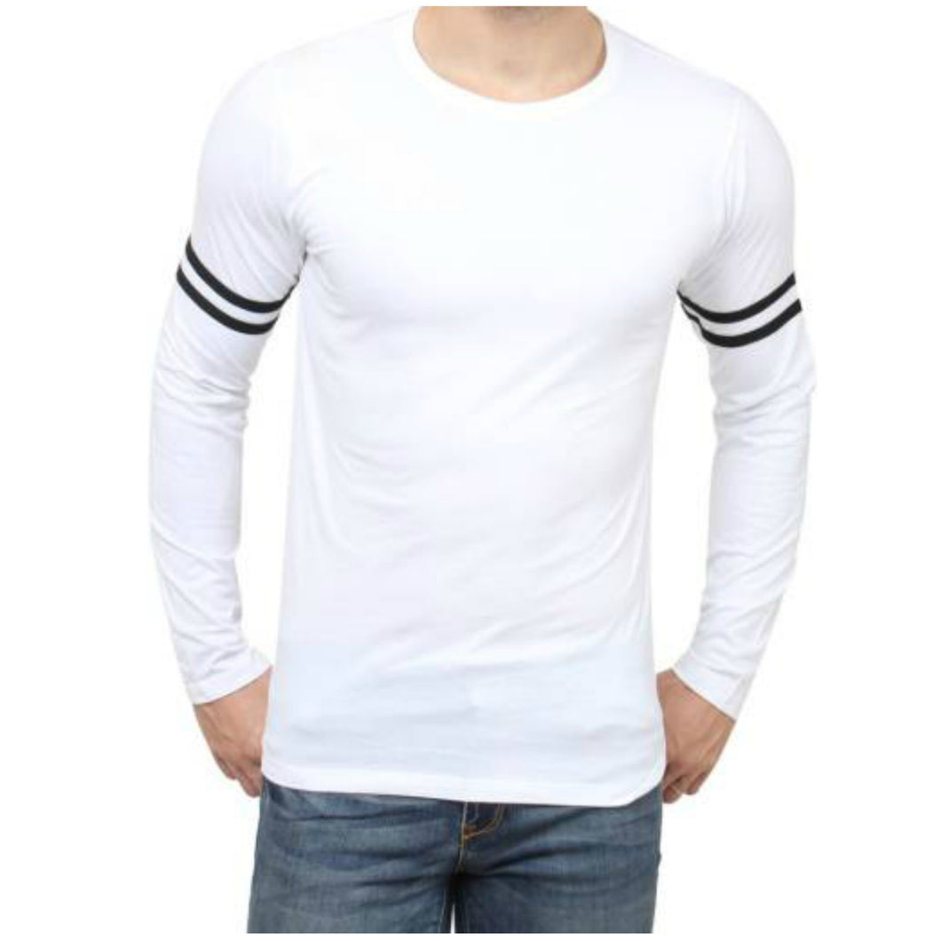 Plain Basic Sports White Black T-Shirt - Badtamees