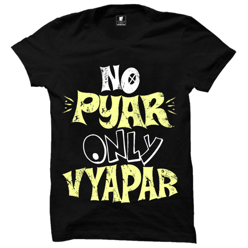 No Pyar Only Vyapar Premium Black T-Shirt