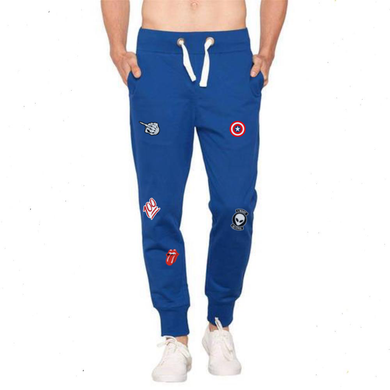 Wear Affair Patched Distressed Premium Joggers Royal Blue