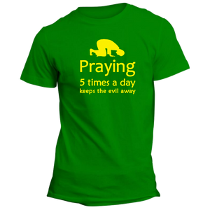 Praying 5 Times Islamic Green Half Sleeve T-Shirt - Badtamees
