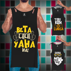 Beta Papa, Teri Keh Ke, Area Baap Ka : 3 In 1 Combo Of Tank Tops