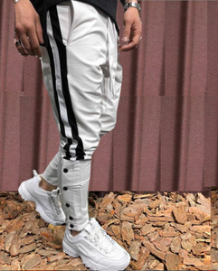 White With Black Strips Slim Fit Jogger