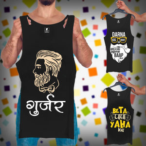 Gujjar, Area baap, Beta Papa : 3 In 1 Combo Of Tank Tops