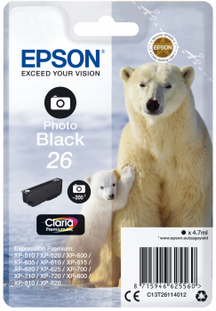 Epson T26 Photo Black Polar Bear