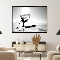 Burmese Fisherman | Shadow Framed Art