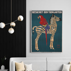 Vintage Munich Zoo Zebra | Canvas Art
