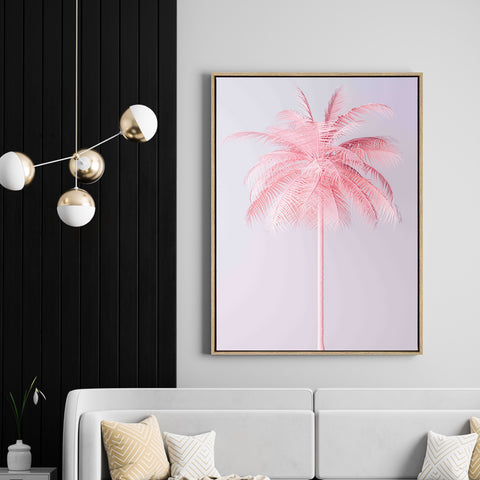 Pink Palm | Drop Shadow Framed Art