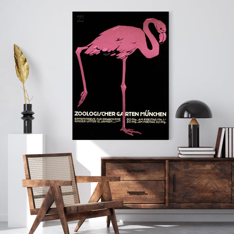 Vintage Munich Flamingo Zoo | Canvas Art