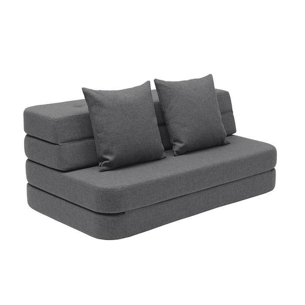 by KlipKlap KK 3 Fold Sofa - Blue grey w. grey