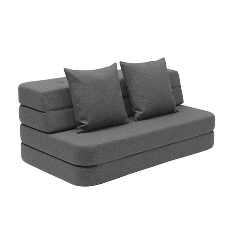 KK 3 FOLD SOFA BLUEGREY W. GREY BUTTONS