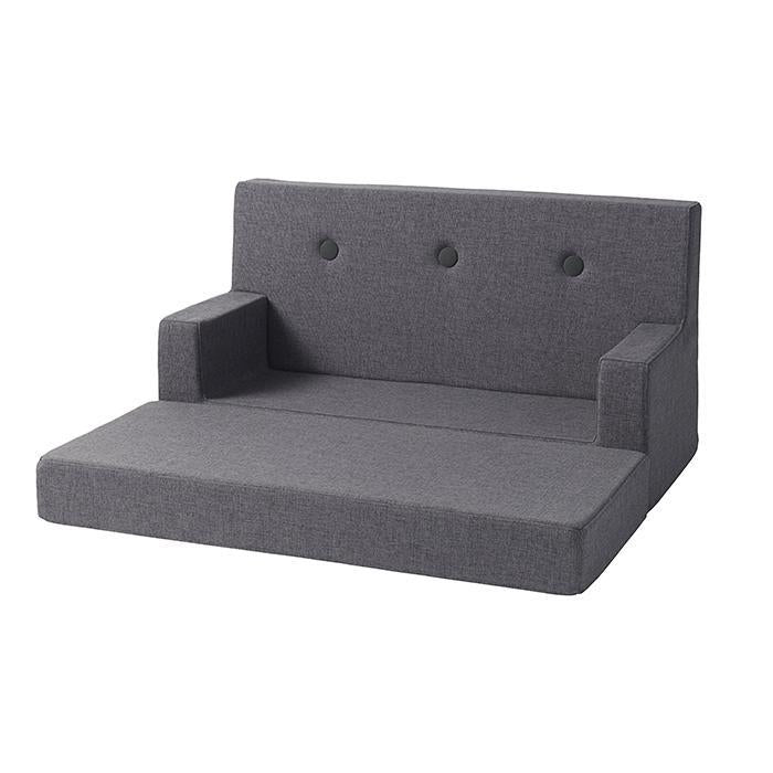 by KlipKlap Kids Sofa unfolded - Blue grey w. grey