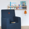 KK KIDS CHAIR XL DARK BLUE W. ORANGE BUTTONS