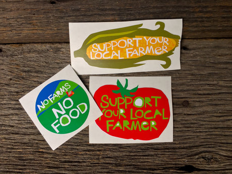 Support Your Local, No Farms No Food Farmer Sticker Collection