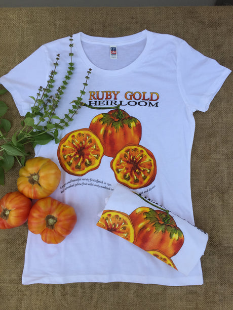 Ruby Gold Heirloom Tomato Ladies T-Shirt