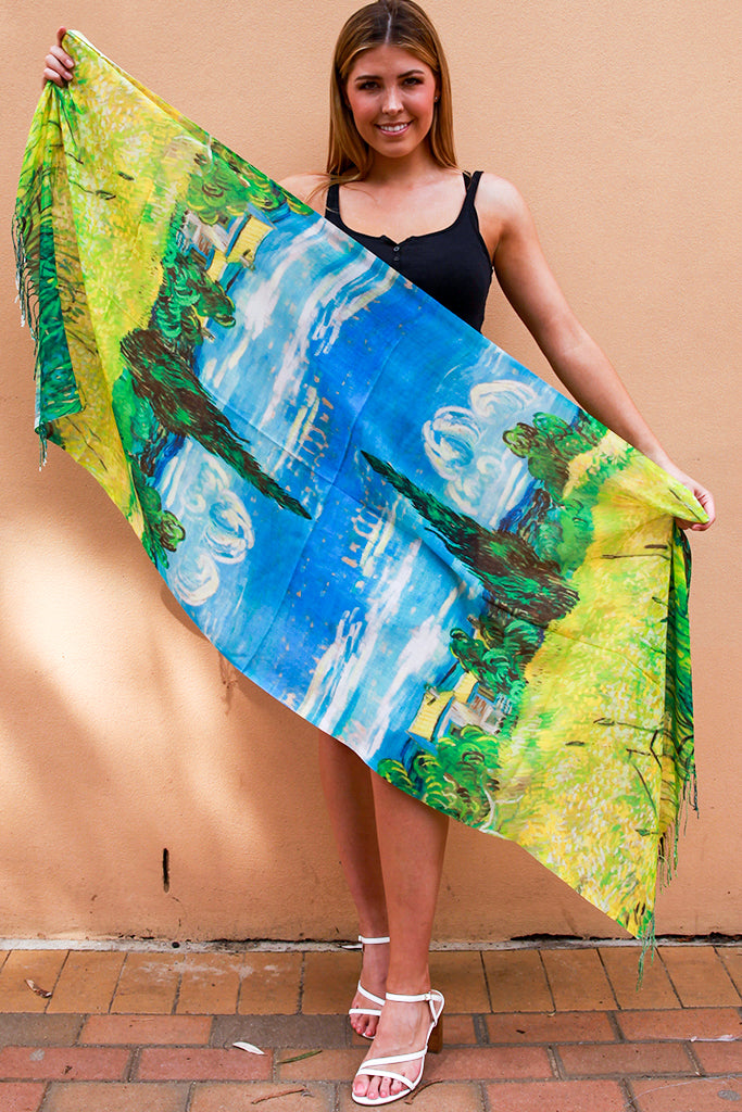 S9666 Spring Oil Paint Scarf