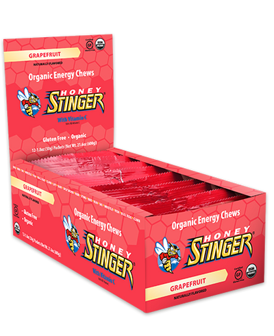 12 Pack Caddy Honey Stinger Organic Energy Chews – Grapefruit