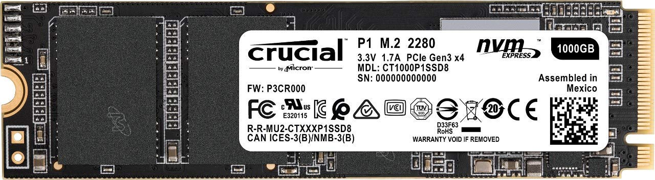CRUCIAL P1 1TB 3D NAND NVMe PCIe M.2 SSD with Read Speeds of Upto 2000Mb/s CT1000P1SSD8