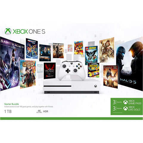 Microsoft Xbox One S 1 TB with Xbox Starter Bundle (3 Mts Game Pass ,Xbox Live Gold) (White)