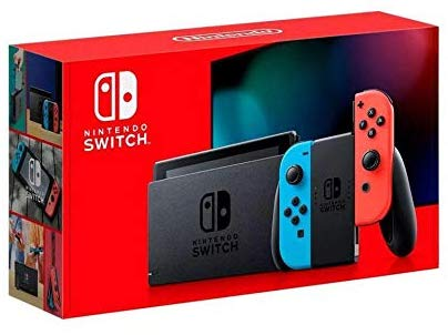 Nintendo Switch with neon red and neon blue Joy‑Con Version 2