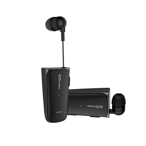 Portronics POR-811 Harmonics Klip II Retractable In-Ear Earphones for Music & Calls(Black)
