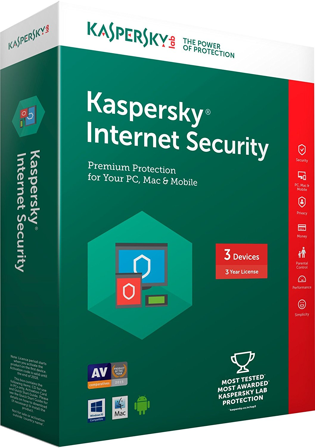 Kaspersky Internet Security Latest version - 3 PCs, 3 Years (CD)