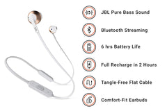 JBL T205BT Pure Bass Bluetooth Metal Earbud Headphones with Mic (Rose Gold)