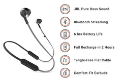 JBL T205BT Pure Bass Bluetooth Metal Earbud earphones with Mic Black
