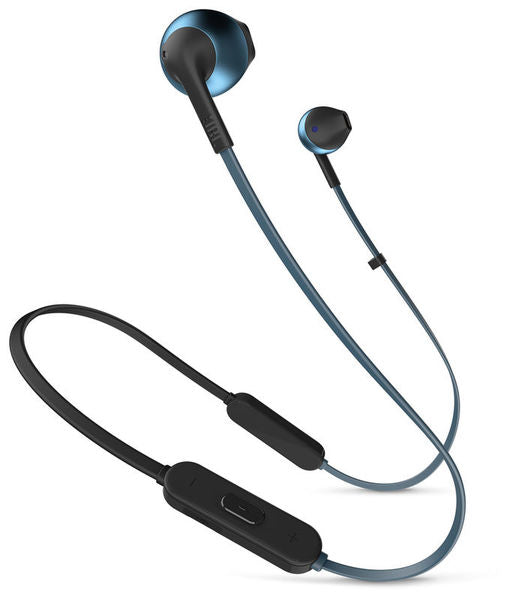 JBL T205BT Pure Bass Bluetooth Metal Earbud Headphones with Mic (Blue)