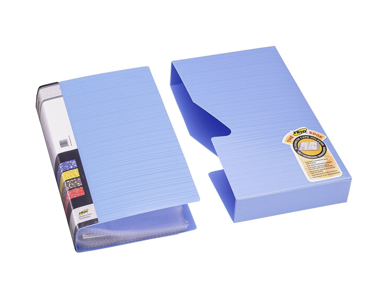TRIO BC240J Business Card Holder - 240 Cards With Case (Set Of 4 Blue)