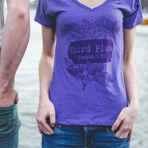 Purple Logo/Floral Tee (V-Neck / Ladies)