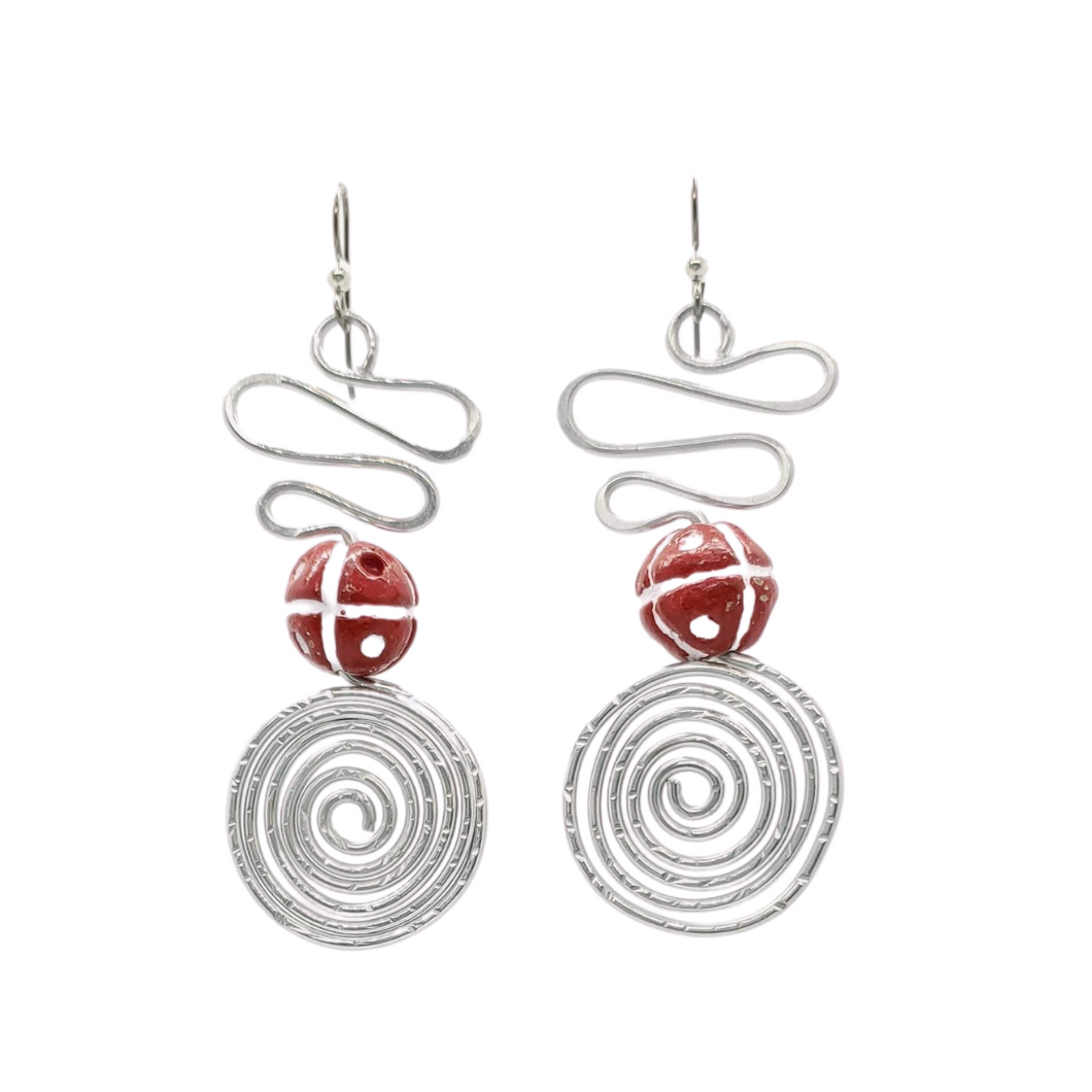 Apparel & Accessories > Jewelry Aluminum Red Spiral Earrings , Women's Earrings - Eclectically Simple, LLC