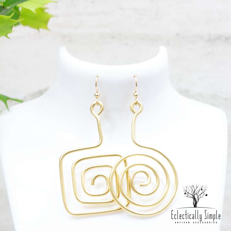 Apparel & Accessories > Jewelry Brass Abstract Mismatch Earrings Series 01 , Women's Earrings - Eclectically Simple, LLC