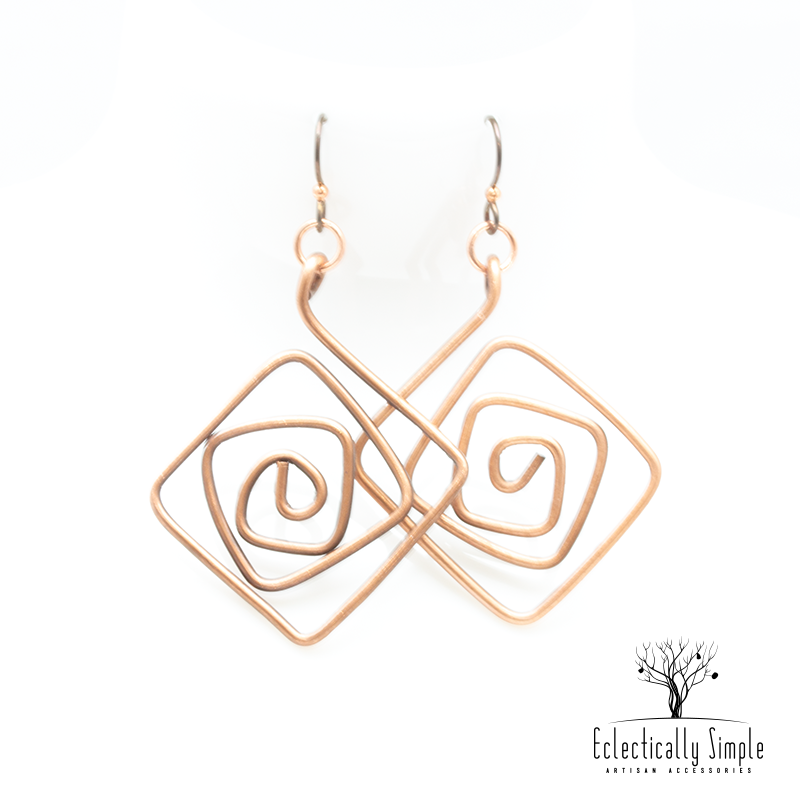 Apparel & Accessories > Jewelry Diamond Shaped Copper Abstract Earrings , Women's Earrings - Eclectically Simple, LLC