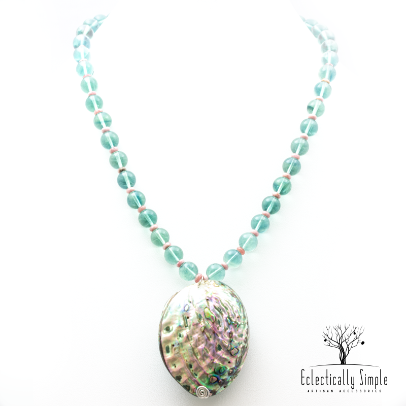 Apparel & Accessories > Jewelry > Watches (201) Abalone Shell & Fluorite Necklace , Women's Necklace - Eclectically Simple, LLC