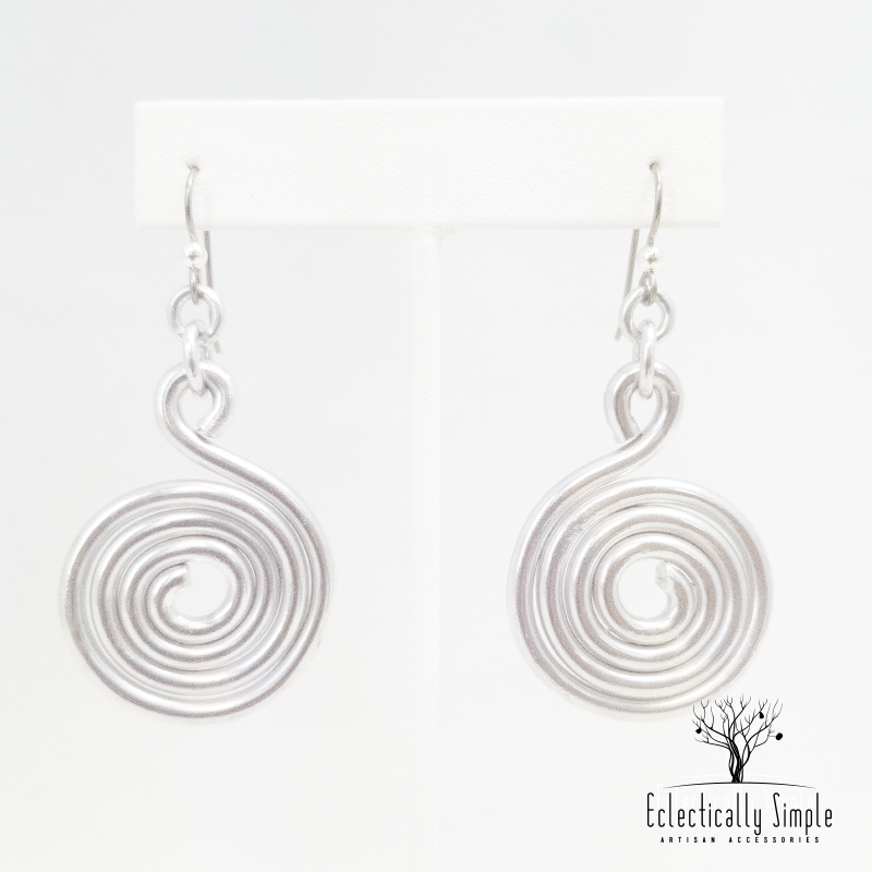 Apparel & Accessories > Jewelry Silver aluminium wire spiral earrings , Women's Earrings - Eclectically Simple, LLC