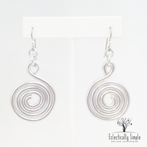 Apparel & Accessories > Jewelry > Watches (201) Silver aluminium wire spiral earrings , Women's Earrings - Eclectically Simple, LLC