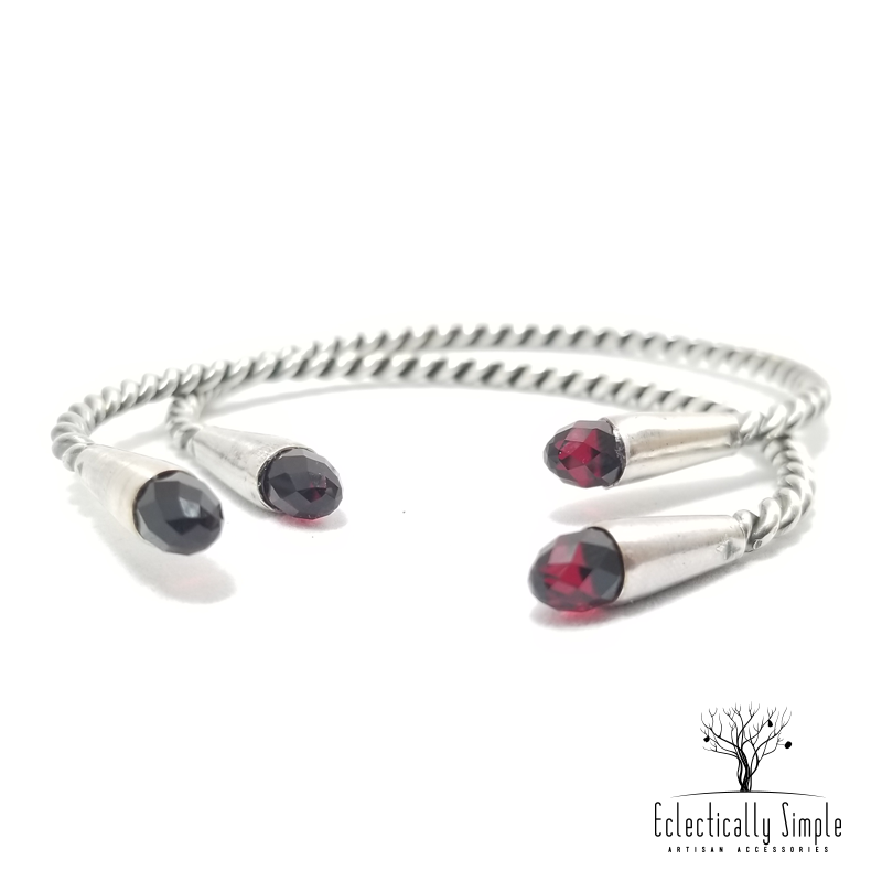 Apparel & Accessories > Jewelry > Watches (201) Twisted Sterling Silver Bangle Set With Ruby Swarovski Crystals , Women's Bracelets / Cuffs - Eclectically Simple, LLC