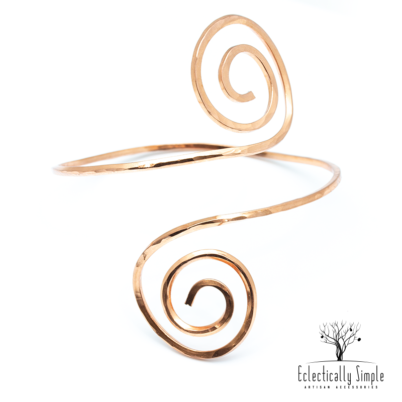 Apparel & Accessories > Jewelry Spiral Upper Arm Cuff , Woman's Arm Cuff - Eclectically Simple, LLC